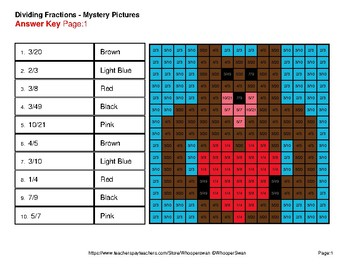 Valentine's Day: Dividing Fractions - Color-By-Number Mystery Pictures