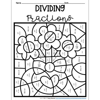 Valentine S Day Dividing Fractions Color By Number By Rebecca S