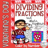 Dividing Fractions and Whole Numbers Color by Number Valentine's Day