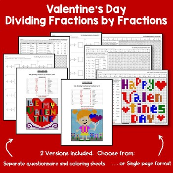Valentine's Day Dividing Fractions by Fractions