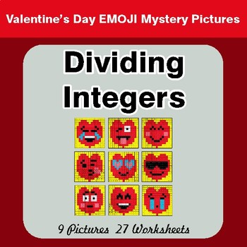 Valentine's Day: Dividing Integers - Color-By-Number Math Mystery Pictures