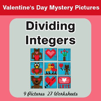 Valentine's Day: Dividing Integers - Color-By-Number Mystery Pictures