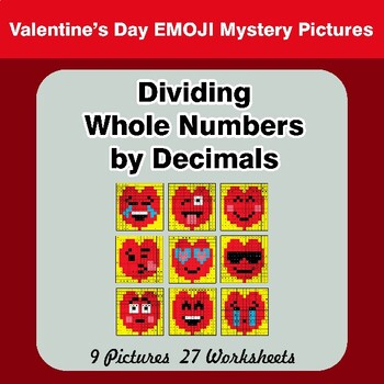 Valentine's Day: Dividing Whole Numbers by Decimals - Math Mystery Pictures