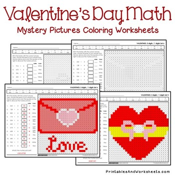Valentine's Day Division Worksheets, Valentine's Division Mystery Pictures