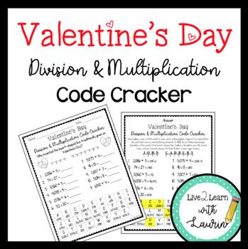 Valentine's Day Division & Multiplication Code Cracker