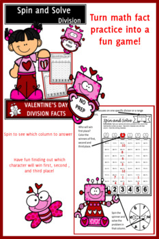 Valentine's Day Activities Division Spin and Solve Math Centers