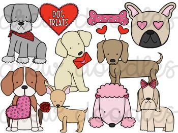 Valentine's Day Dogs Digital Clip Art Set