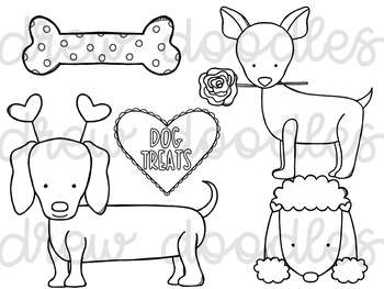 Valentine's Day Dogs Digital Clip Art Set- Black Line Version