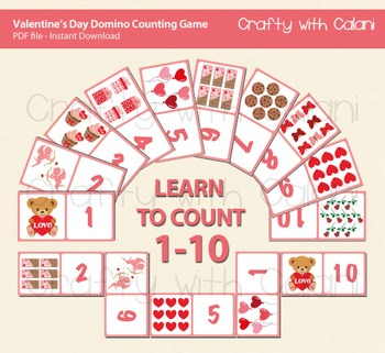 Valentine's Day Domino Cards for Counting Game 1-10