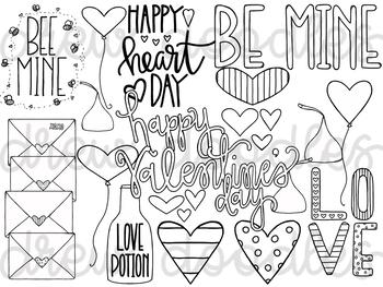 Valentine's Day Doodles Digital Clip Art Set- Black Line Version