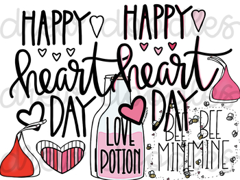 Valentine's Day Doodles Digital Clip Art Set- Color and Black Line COMBO