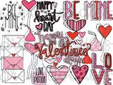 Valentine's Day Doodles Digital Clip Art Set- Color and Bl