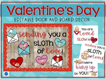 Valentine's Day Door and Bulletin Board Editable Decor