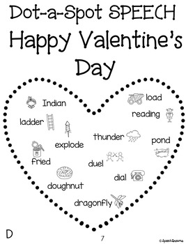Valentine's Day Dot a Spot Speech Therapy Craft pinning tracing dotting