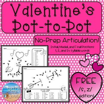 Valentine's Day Dot-to-Dot FREEBIE for /S/ and /Z/