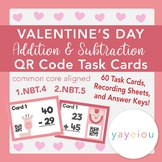 Valentine's Day Double-Digit Addition AND Subtraction QR Task Card Bundle