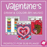 Valentine's Day Color by Note Coloring Pages for Music Class