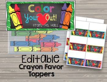 Crayon Favors {EDITABLE} Cards - Rewards - Back to School