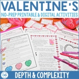 Valentine's Day ELA Activity Pack   Depth and Complexity  