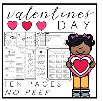 Valentine's Day - ELA and Math - Kindergarten - NO PREP!