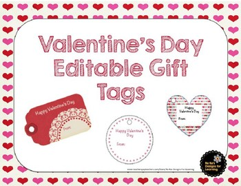 Valentine's Day Editable Gift Tags