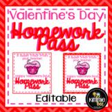 Valentine's Day Editable Homework Pass