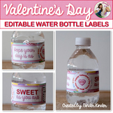 Valentine's Day Editable Water Bottle Labels