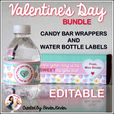 Valentine's Day Editable Water Bottle Labels and Candy Bar Wrappers {Bundle}