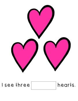 Valentine's Day Emergent Reader-- Color Words, Number Words, Sight Words