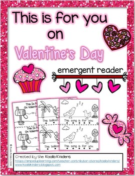 "Valentine's Day Emergent Reader-""This Is For You On Valentine's Day"""