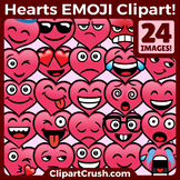 Valentine's Day Emojs Clipart Faces. Cute Cartoon Heart Emoji Emotions Clip Art