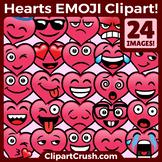 Valentine's Day Emojs Clipart Faces. Cute Cartoon Heart Emoji Emotions Clip Art
