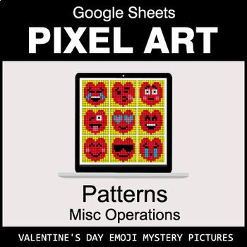 Valentine's Day Emoji - Number Patterns: Misc Operations - Google Sheets