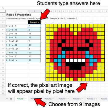 Valentine's Day Emoji - Ratios & Proportions - Google Sheets Pixel Art