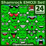 St.Patrick's Day Emojs Clipart Faces. Cute Cartoon 4 Leaf Clover Emoji Emotions