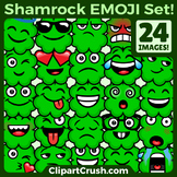 St.Patrick's Day Emojs Clipart Faces. Cute Cartoon 4 Leaf