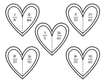 Valentine's Day Equivalent Fractions