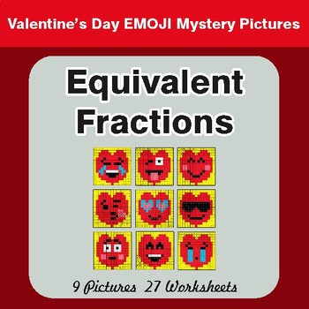 Valentine's Day: Equivalent Fractions - Color-By-Number Math Mystery Pictures