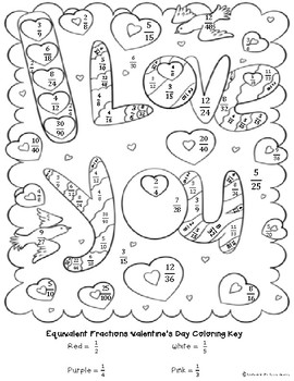 Valentine's Day Equivalent Fractions Coloring