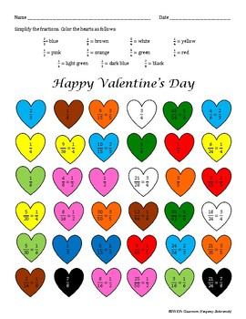 Valentine's Day Equivalent Fractions Cooperative Learning