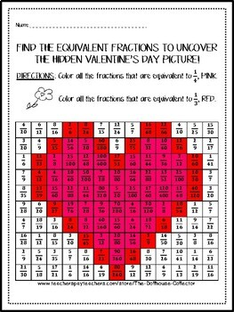 Valentine's Day Equivalent Fractions Hidden Picture with Answer Key