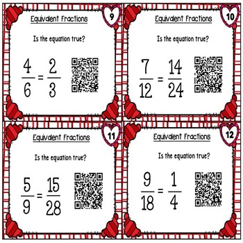 Valentine's Day Equivalent Fractions with QR Codes
