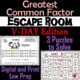 Valentine's Day Escape Room Math: Greatest Common Factor 4th 5th 6th 7th Grade