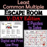 Valentine's Day Escape Room Math: Least Common Multiple 4th 5th 6th 7th Grade