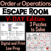 Valentine's Day Escape Room Math: Order of Operations (4th 5th 6th 7th Grade)