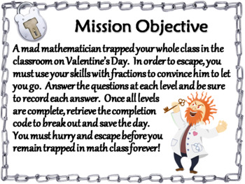 Valentine's Day Escape Room Math: Simplifying Fractions 4th 5th 6th 7th Grade