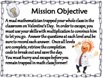Valentine's Day Escape Room Math: Two Digit Multiplication (3rd 4th 5th Grade)