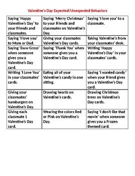 Valentine's Day Expected/Unexpected Behaviors