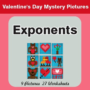 Valentine's Day: Exponents - Color-By-Number Math Mystery Pictures