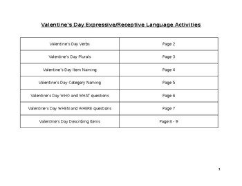 Valentine's Day Expressive/Receptive Language Activities